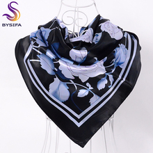 [BYSIFA] Brand Black Peony Square Scarves Head scarves 90*90cm Satin Hair Scarves Autumn Winter Cheap Women Silk Scarf Shawl(China)
