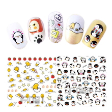 1 Sheet Cute Cartoons Eggs Mouse Cat Penguin Chick Fashion House Nail Art 3D Tips Stickers Nail Decals Manicure JIF061-072(China)
