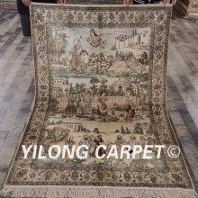 Yilong 4'x6' 300Line Persian Silk Carpet Vintage Art Collection Tapestry Character Figure Design Handmade Area Rugs (LH959H4x6)