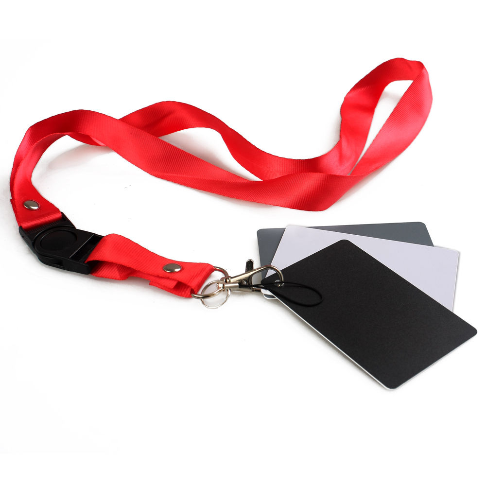 3 in 1 White Black Gray Balance Digital Card kit Pocket-Size 18% Gray Card with Neck Strap for Digital Photography7