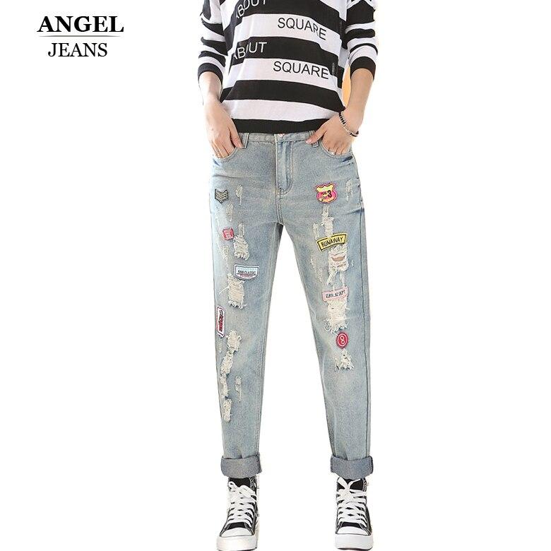 2017 Fashion Women Jeans Boyfriend Hole Jeans Women Cotton Denim loose PantsОдежда и ак�е��уары<br><br><br>Aliexpress