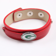 10Pcs/lot NFL Fashion Jewelry American Football Green Bay Packers Slide Charms PU Leather Bracelets For Fans  Gift