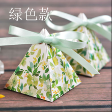 20pcs Triangular Pyramid Green Floral Wedding Favors Candy Boxes Bridal Shower Party Return Present Gifts Box + Ribbons + Tags