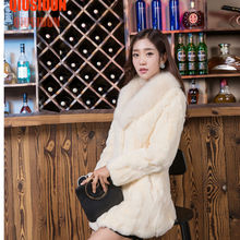 2017 NEW The real rabbit fur coat  Fox hair collar long paragraph Fur coat Winter women's fashion jacket  A natural fur coat