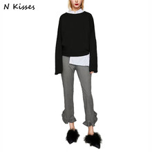 Nkisses 2017 Autumn New Women Laminated Decorative Trousers Solid Fashion Office Lady Pants