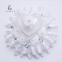 Genie Wedding Decoration Ring Box Ribbon Rose Flower Lace Dress Design Wedding Favors and Gifts Ring Pillow Women Jewelry Boxes