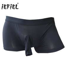 Buy iEFiEL 5 Color Open Pouch Penis Wetlook Sexy Panties Men Boxer Shorts Underwear Underpants Sheath Bulge Gay Mens Jockstraps