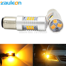 Zauleon 2pcs 1156 1157 P21W P21/5W 805 lumens LED Turn Signal Light BAU15S PY21W Yellow Amber LED Parking Lamp Car-Styling(China)