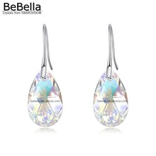 BeBella trendy pear shaped crystal pendant earrings made with Austrian crystals from Swarovski bridesmaids wedding jewelry