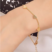 2016 New Hot Fashion accessories simple Cute Gold heart bracelet  Women cheap Star Pendant Charm Chain Bracelets wholesale