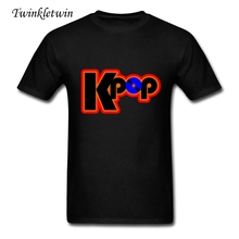 Kpop Logo Large Tshirt Man's Short Sleeve Tshirts Men O Neck 100% Cotton Men Pop Trend Top Tees High Quality T-shirts XS-XXXL(China)