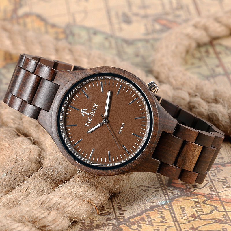 Creative Full Wooden Men Wrist Watch Quartz Simple Nature Wood Women Bamboo Adjustable Band Strap Minimalist Birthday Xmas Gift<br>