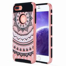 Buy iphone 8 7 Plus 5S SE Case Lovely Mandala Design Dual Layer Hybrid Armor Phone Cases iphone 6 6S Plus Back Cover Fundas for $2.73 in AliExpress store