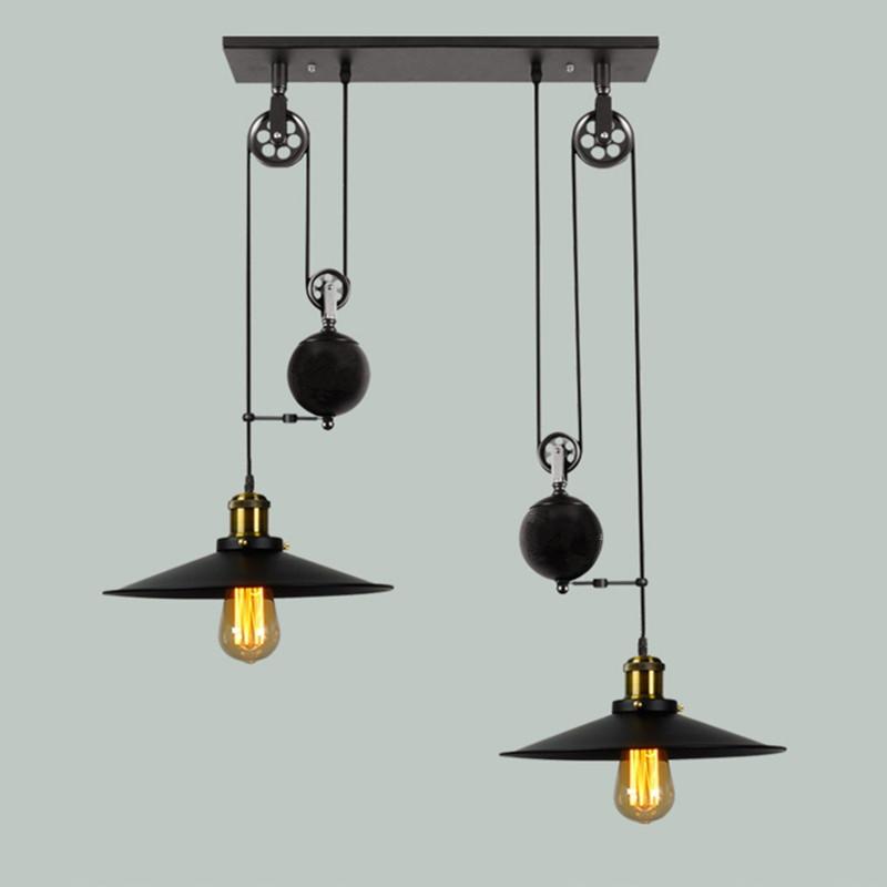 Loft vintage pendant lights Bar Kitchen Home Decoration E27 Edison Light Fixtures Iron Pulley Lamp Nordic Industrial Retro 2