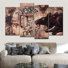Drop Shipping 4 Pieces Abstract Graffiti Pictures Canvas Wall Art Painting for Living Room Cuadros Decoracion Abstracto No Frame(China)