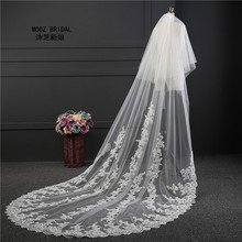 Glamorous Cathedral Length 1.8 m Width Rounded Tail Appliques Lace Edge Made in China Ivory White Long Wedding Veil 2017(China)