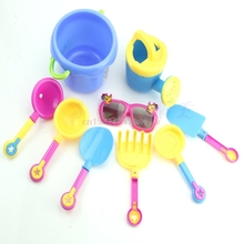 9Pcs/Set Seaside Sand Play Water Tools with Sunglasses Shovel Watering Can Bucket Toy Set for Kids #H055#