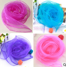 Promotion !! Solid Color Silk Scarf Small Candy Color Scarf Women Wear Scarves Wholesale Head Bands Holiday style(China)