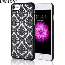 USLION Vintage Lace Flower Phone Case For iPhone X 8 7 Plus 6 6s Plus 5 5s SE Case Hard PC Beautiful Phone Case Back Cover Bags(China)