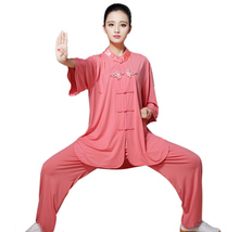 New Design Women Cotton Linen Pure Color Tai Chi Uniform Martial Arts Suit Kung Fu For Taiji Clothing Wushu Clothes