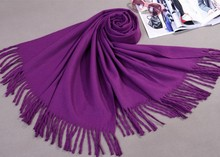 Winter Purple Soild color Women's Artificial Cashmere Blend Shawl Scarf New Thick Warm Wrap SW0039(China)