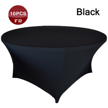 Shipping Free 10PC Round Stretch Table Covers Black Table Cover Cloth Oval for Dining Table of Wedding Linen Party Event Decor