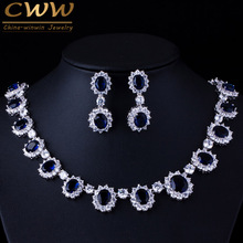 CWWZircons Brand Gorgeous Micro Inlay Full CZ Stones Around Dark Blue Crystal Flower Party Wedding Jewelry Sets For Women T159(China)