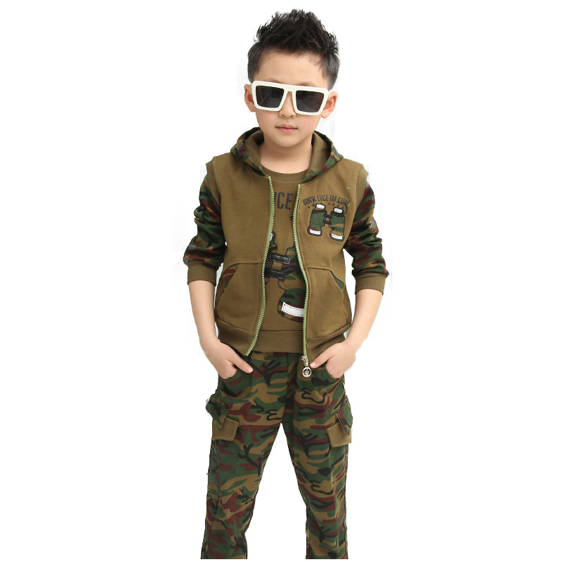 Boys Camouflage Sports Sets Telescope 3pcs Hooded Jacket+T-Shirt+Pants Boy Spring Teen Tracksuits Clothing 3 5 6 8 10 12 years<br>