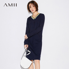 Buy Amii Minimalist Casual Women Dress 2018 Stripes V-Neck Knee High Long Sleeve Straight Dress for $22.09 in AliExpress store