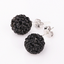 2016 fashion crystal rhinestone 10mm ball stud shamballa earring Black crystal Earrings 24 colors
