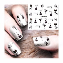 FWC Cat Water Nail Decals Nail Art Stickers Tips Decal The Colorful Pattern Full Cover Nail Sticker 8498