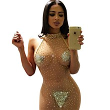 Plus Size Tenue Sex Erotic Skin Color Pearls Sexy Clubwear Party Night Club Dress Mesh Diamonds O Neck Womens Sequin Sex Dresses
