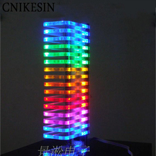 CNIKESIN 2 pcs Diy KS16 Fantasy crystal sound column light cube LED music spectrum Level display electronic production VU tower