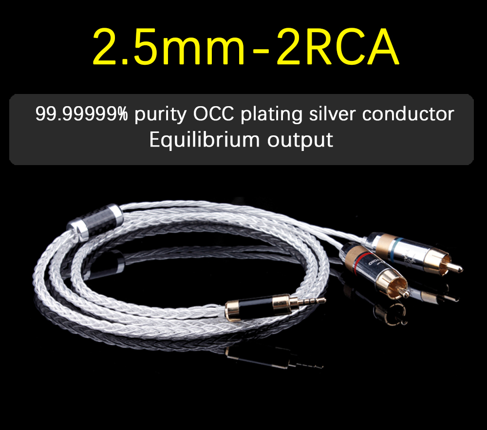 YYAUDIO Silver Plated Hifi 2.5mm TRRS Balanced to 2 RCA Male Cable For Astell&Kern AK100II,AK120II,AK240, AK380,AK320,DP-X1