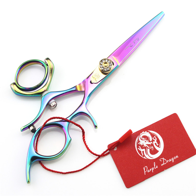 Purple Dragon Colorful 5.5 inch Hairdressers Scisors Hair Clipper 360 Degree Rotary Handle Scissors Right Handed Hair Scissors <br>
