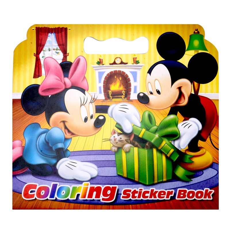 New 16 Pages Mickey Mouse Coloring Sticker Book For Children Adult Relieve Stress Kill Time Graffiti Painting Drawing Art Book(China)