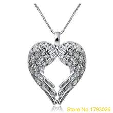 Romantic Women  Delicate Heart Love Pendant Chain Angle Wing Necklace 4U14