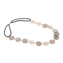 1 PCS Girls Womens Fashion Metal Chain Jewelry Hollow Rose Flower Elastic Hair Band Accessories Sale