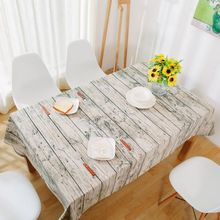 Newest Retro Simulation Wood Striped Table Cloth Cotton Linen Fabric Grey Tableclothes Wedding Party Decoration Tables Cover