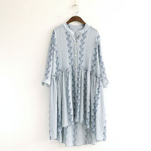 2017 New Design Women's Dresses Mori Girl Stand Collar Printing Loose 3/4 Sleeve Beach Dress Casual Summer Light Thin Clothing