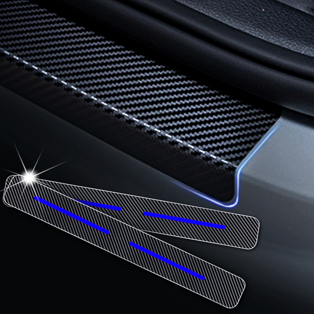 YCGLX 4Pcs for Opel VIVARO All Models Carbon Fiber Leather Car Door Sill Scuff Plate Protector Kick Pedal Threshold Bar Sticker Decoration Styling Accessory