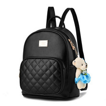 COOL WALKER New Arrival Fashion Women Backpack Bag Small Bear Pendant Girls Schoolbag Leather Women Backpack Double Zipper Women