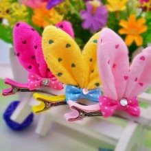 1 PC Cute Novelty High Quality Rabbit Ears With Resin Diamond And Bow Children Accessories Gift Hair Accessories Girls Hair Clip