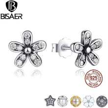 2017 Authentic 925 Sterling Silver Dazzling Daisy Stud Earrings with Clear CZ  Jewelry WEUS403