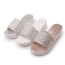 Big size 34~43 high quality 2015 summer women casual rhinestone Polyurethane sole wedge sandals 3 colors