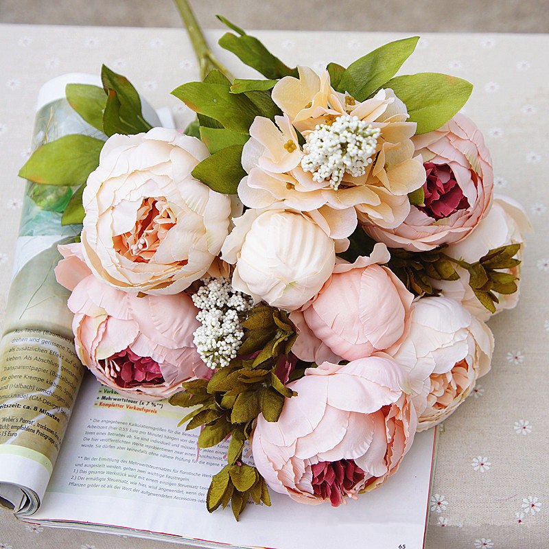 1 manojo artificial Peonía Seda Decoración Fiesta Europea Falso Flores Peonías para