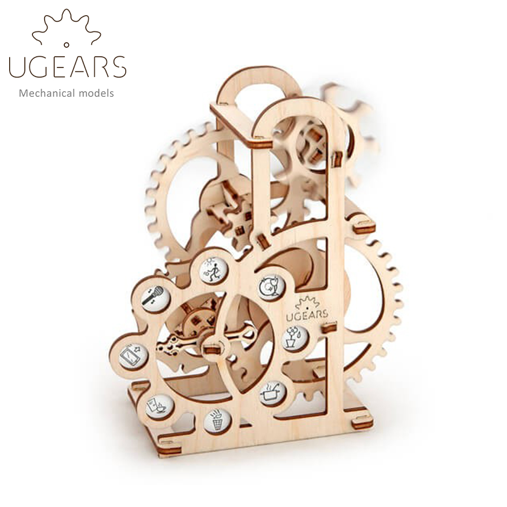 DIY Wooden Lucky Rotary Table Mechanical Transmission Model Assembly Puzzle Toy 48pcs