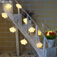 DELICORE Decor 10 Leds LED Smile Cloud String Lights Battery Powered Indoor Ambient Lighting For Garden Party Wedding S194(China)