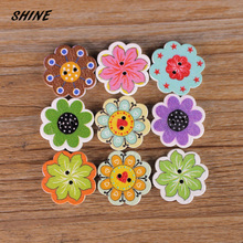 SHINE Wooden Sewing Buttons Scrapbooking Flower Colorful Mixed 2 Holes 20mm 50 PCs Costura Botones Decorate bottoni botoes(China)