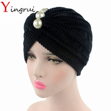 Charming Ladies Solid Bandanas With Venetian Pearl Elegant Women Turban Velvet Headband Head Wrap